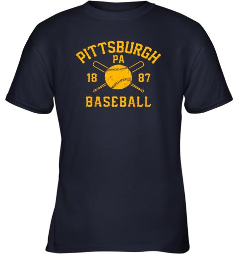 otbz vintage pittsburgh baseball pennsylvania pirate retro gift youth t shirt 26 front navy
