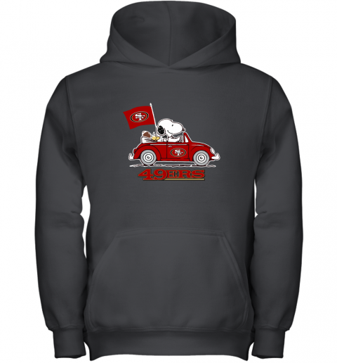 Snoopy And Woodstock Ride The San Francisco 49ers Car Youth Hoodie