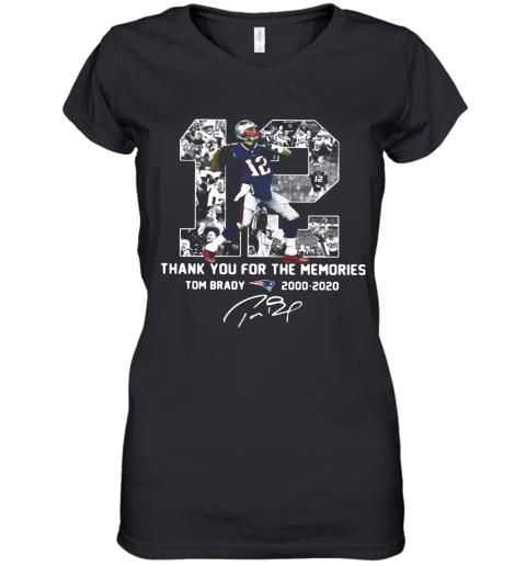 12 Tom Brady 2000 2020 Thank You For The Memories Signature Women's V-Neck T-Shirt