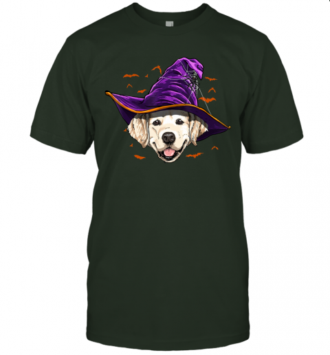 Golden Retriever Witch Funny Halloween Gifts Dog Lover T-Shirt