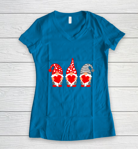 Gnomes Hearts Valentine Day Shirts For Couple Women's V-Neck T-Shirt 5