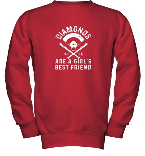 wnhk diamonds are a girl39 s best friend baseball youth sweatshirt 47 front red
