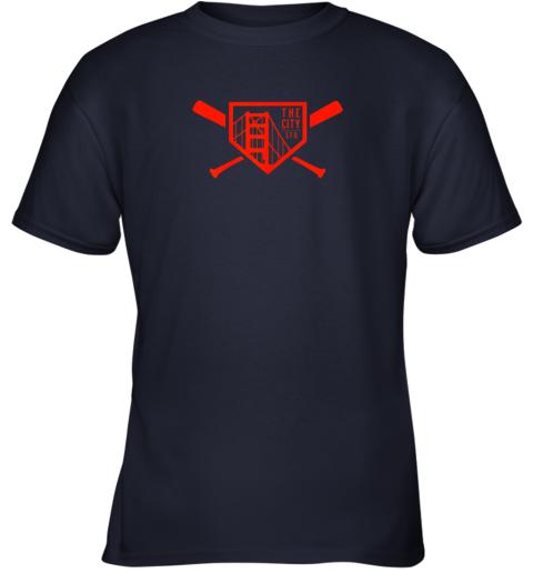 qpt9 cool san francisco baseball the city bridge sfo youth t shirt 26 front navy