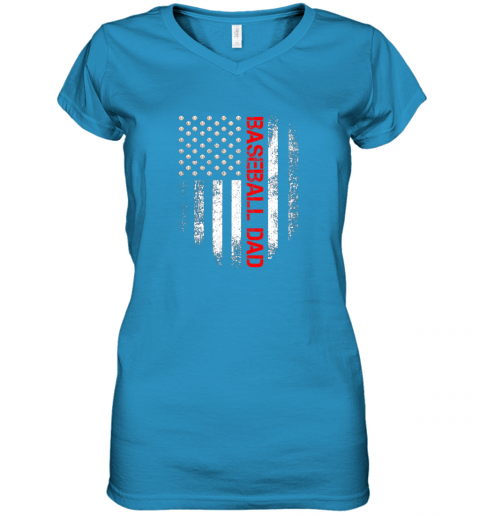 ptfp vintage usa american flag proud baseball dad player women v neck t shirt 39 front sapphire