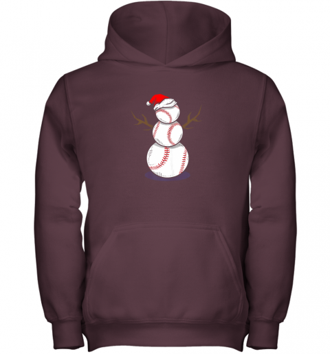 73m4 christmas in july summer baseball snowman party shirt gift youth hoodie 43 front maroon
