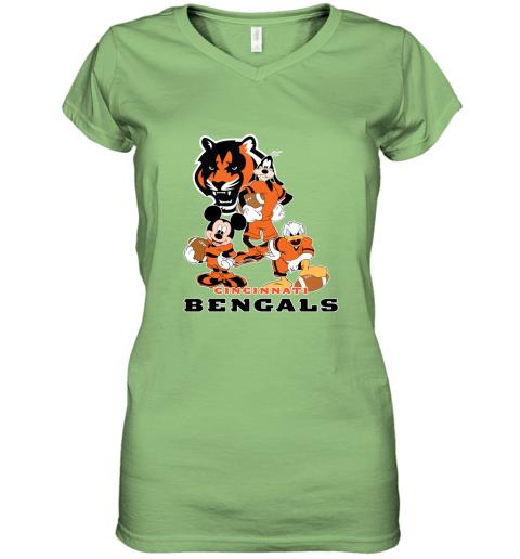 so4p mickey donald goofy the three cincinnati bengals football shirts women v neck t shirt 39 front lime