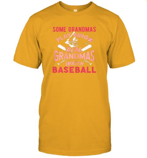 peoz some grandmas play bingo real grandmas watch baseball gift jersey t shirt 60 front gold