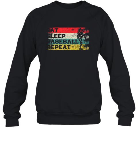 Vintage Retro Eat Sleep Baseball Repeat Funny Sport Player Sweatshirt