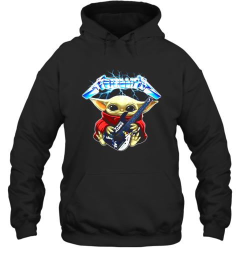 Baby Yoda Hug Metallica Guitar Shirt Hoodie