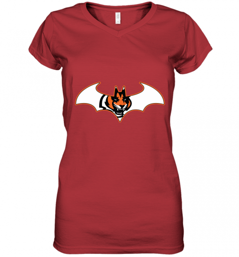 wop9 we are the cincinnati bengals batman nfl mashup women v neck t shirt 39 front red
