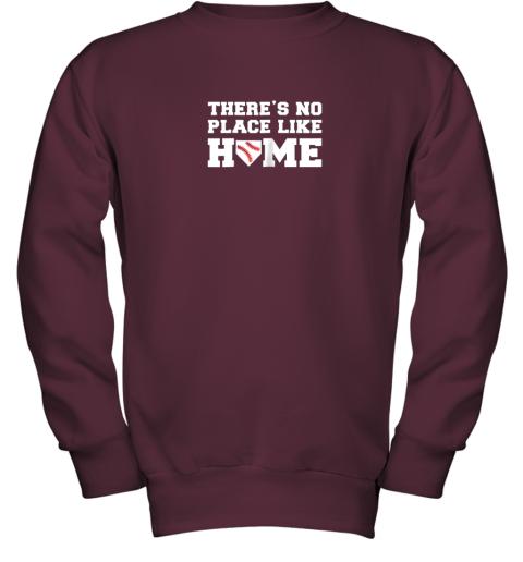 u32n there39 s no place like home baseball shirt kids baseball tee youth sweatshirt 47 front maroon