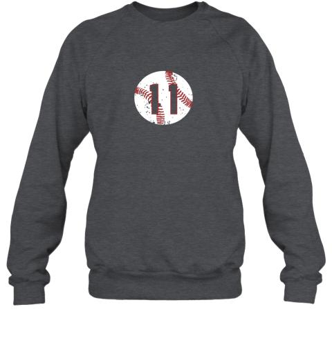 dd73 vintage baseball number 11 shirt cool softball mom gift sweatshirt 35 front dark heather