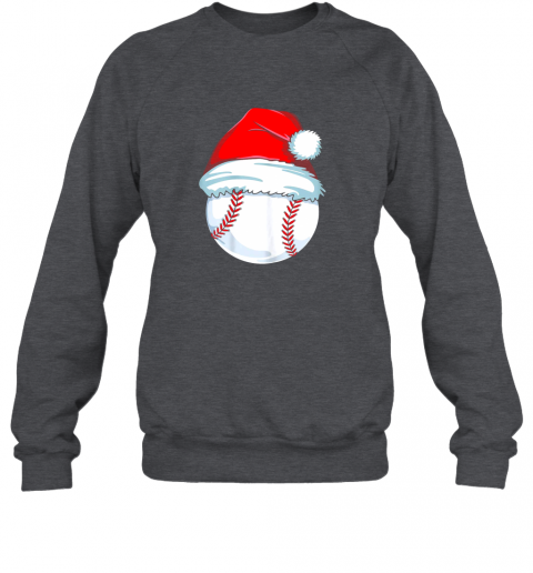 qm12 christmas baseball shirt for kids men ball santa pajama sweatshirt 35 front dark heather