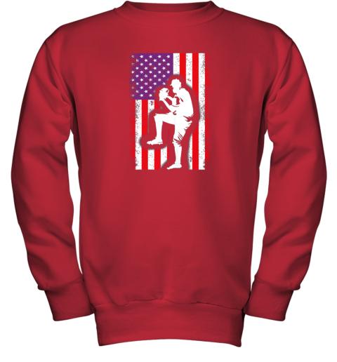 nwzu vintage usa american flag baseball player team gift youth sweatshirt 47 front red