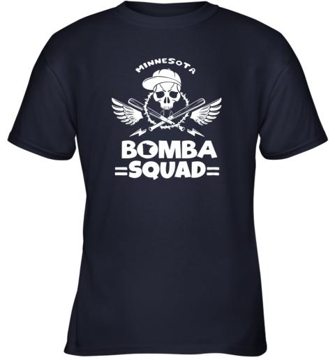 w1aw bomba squad twins shirt minnesota baseball men bomba squad youth t shirt 26 front navy