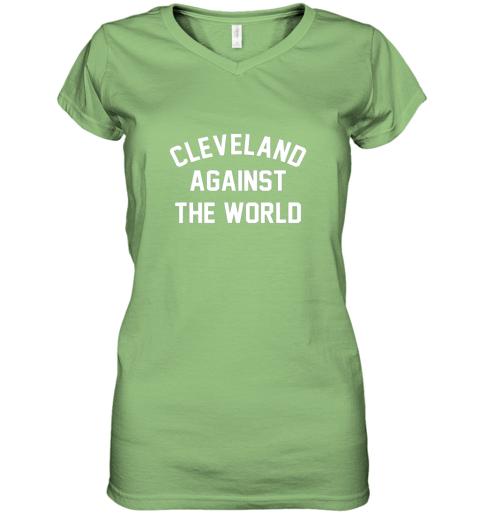 nxxk cleveland against the world football baseball basketball women v neck t shirt 39 front lime