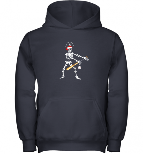 5jxj skeleton pirate floss dance with baseball shirt halloween youth hoodie 43 front navy