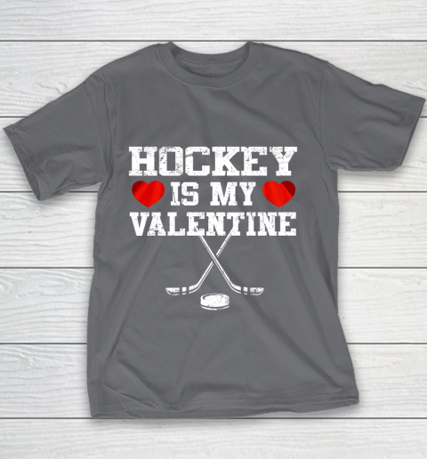 Hockey Is My Valentine Youth T-Shirt 13