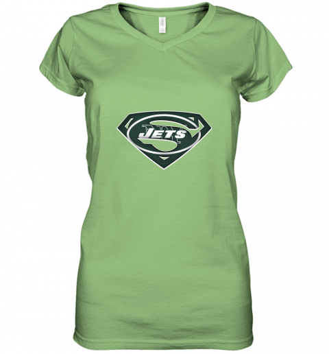 vyne we are undefeatable the new york jets x superman nfl women v neck t shirt 39 front lime