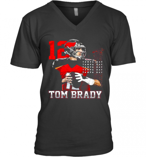 12 Tom Brady Tampa Bay Buccaneers V-Neck T-Shirt