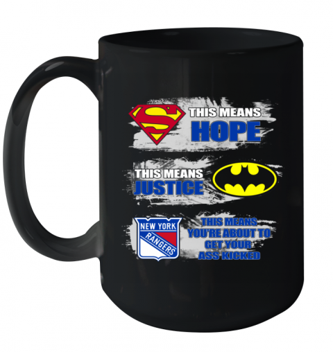 Superman Batman New York Rangers Kick Your Ass Ceramic Mug 15oz