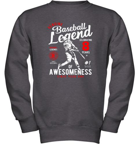 v7hw kids 8th birthday gift baseball legend 8 years youth sweatshirt 47 front dark heather