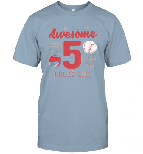 qc7u kids 5th birthday gift awesome 5 year old baseball legend jersey t shirt 60 front light blue