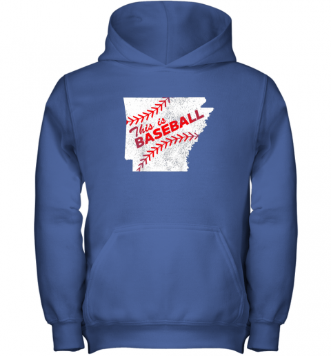 ujo8 this is baseball arkansas with red laces youth hoodie 43 front royal