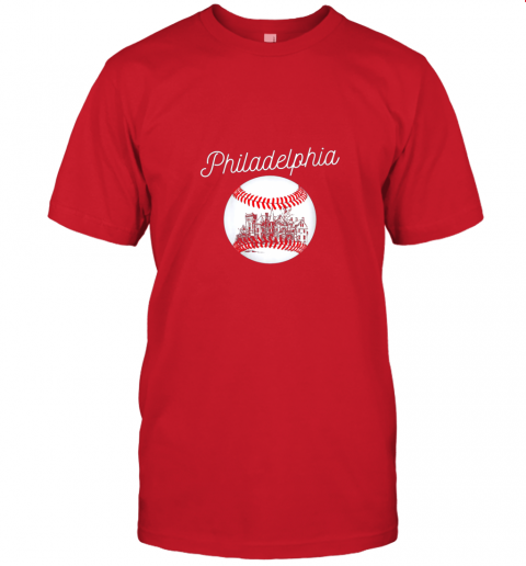 yc2t philadelphia baseball philly tshirt ball and skyline design jersey t shirt 60 front red