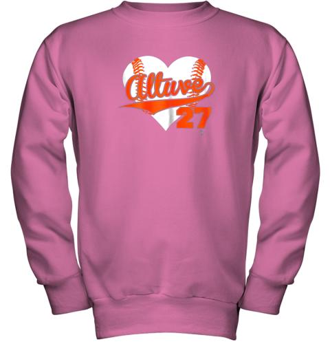 wdkq jose altuve baseball heart shirtapparel youth sweatshirt 47 front safety pink