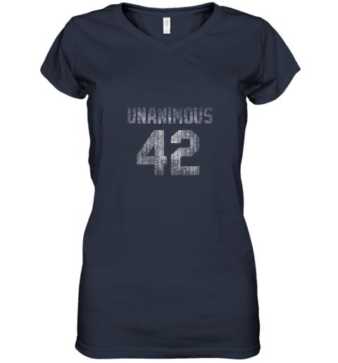 mnhq new york 42 baseball unanimous hof distressed mo hero women v neck t shirt 39 front navy
