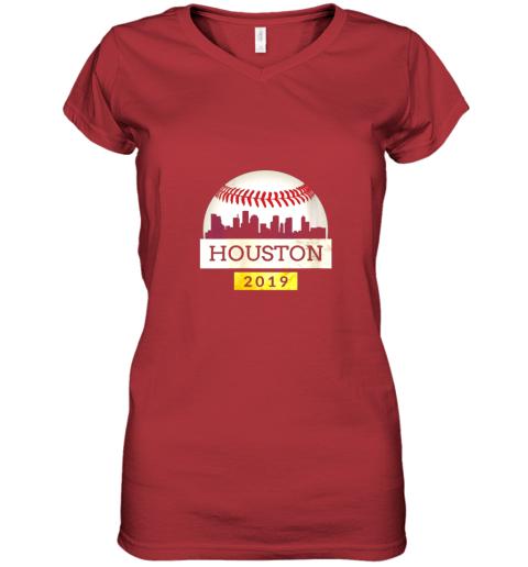 iv9q houston baseball shirt 2019 astro skyline on giant ball women v neck t shirt 39 front red