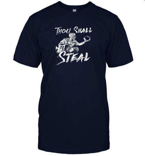 25jm thou shall not steal baseball catcher jersey t shirt 60 front navy