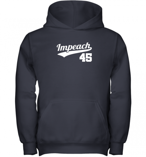 a9ma impeach donald trump 45 baseball logo youth hoodie 43 front navy