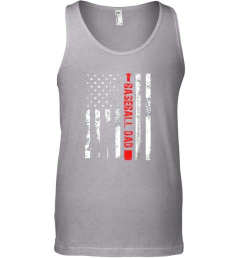 jaqx mens proud baseball dad american flag sports unisex tank 17 front sport grey