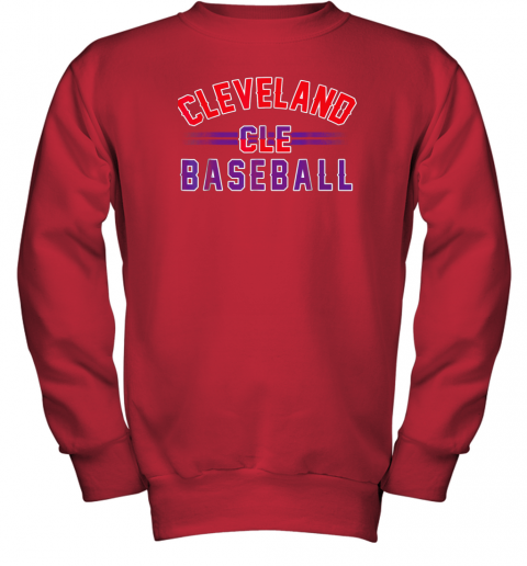 gitw cleveland cle baseball youth sweatshirt 47 front red