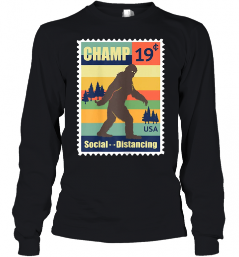 Social Distancing Champ Bigfoot Stamp 2020 Vintage Youth Long Sleeve