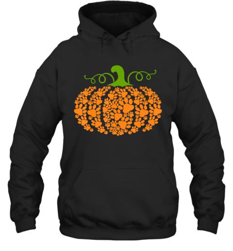 Pumpkin Paw Print Dog Lover Halloween Costume Girls Women Hoodie