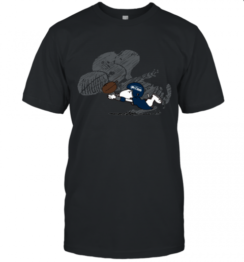 Seattle Seahawks Snoopy Plays The Football Game Unisex Jersey Tee
