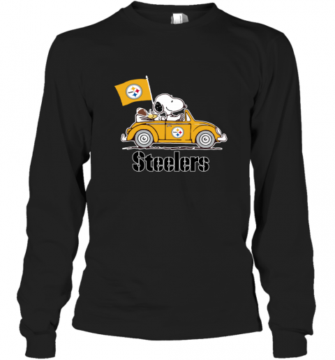 Snoopy And Woodstock Ride The Pittsburg Steelers Car Long Sleeve T-Shirt