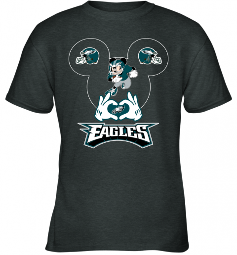 vwqs i love the eagles mickey mouse philadelphia eagles youth t shirt 26 front dark heather