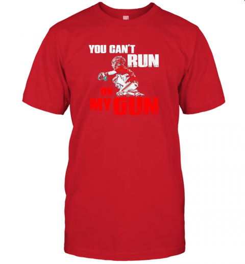 cwls you cant run on my gun shirt baseball jersey t shirt 60 front red