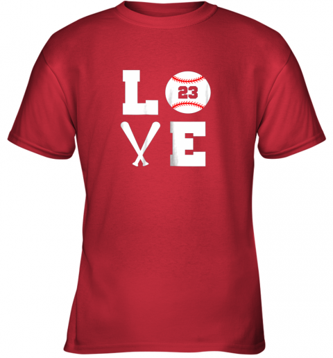 uams i love baseball player number 23 gift shirt youth t shirt 26 front red