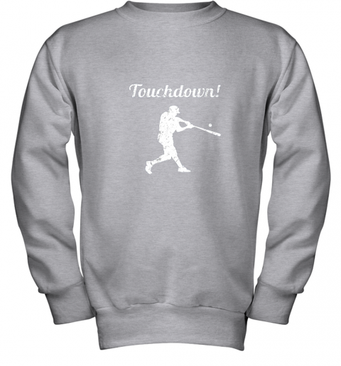 p0vj touchdown funny baseball youth sweatshirt 47 front sport grey