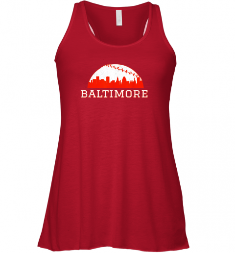 qf0t vintage downtown baltimore md baseball skyline flowy tank 32 front red