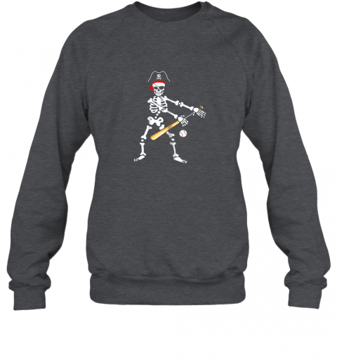 y4tm skeleton pirate floss dance with baseball shirt halloween sweatshirt 35 front dark heather