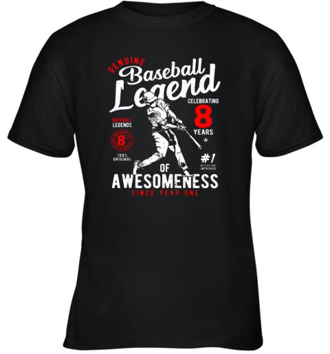 Kids 8th Birthday Gift Baseball Legend 8 Years Youth T-Shirt