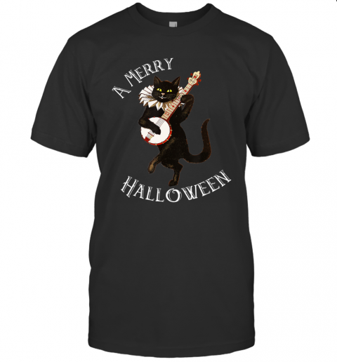 Vintage Black Cat Merry Halloween Not Scary Mens Womens T-Shirt