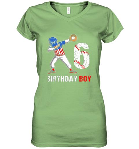 zp8o kids 6 years old 6th birthday baseball dabbing shirt gift party women v neck t shirt 39 front lime