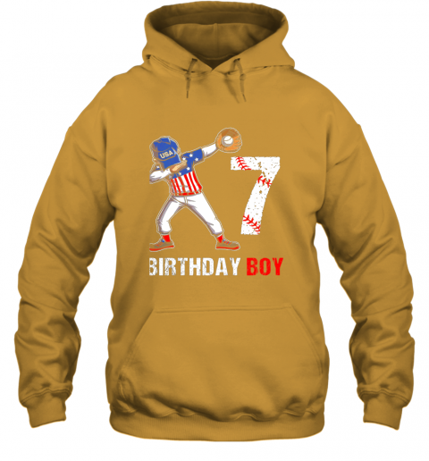 dpjk kids 7 years old 7th birthday baseball dabbing shirt gift party hoodie 23 front gold